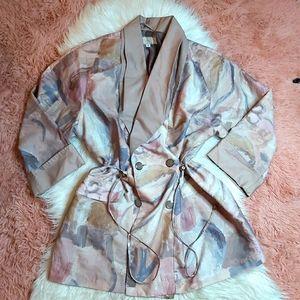 Vintage Pastel Midi Trench Coat Jacket 80's